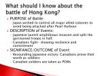 what should i know about the battle of hong kong