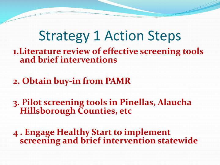 Strategy 1 Action Steps