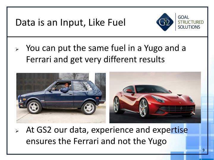 Data is an Input, Like Fuel