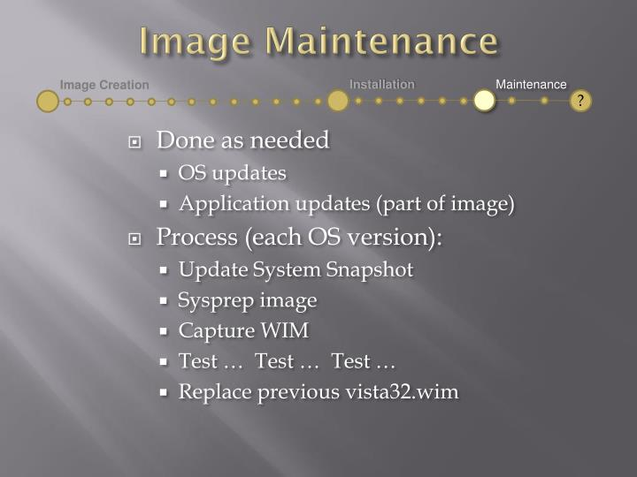 Image Maintenance