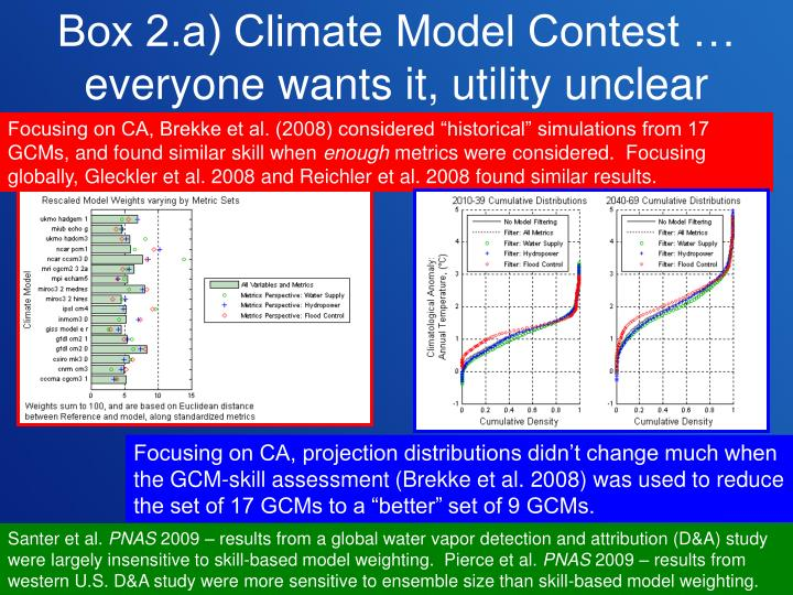 Box 2.a) Climate Model Contest … everyone wants it, utility unclear
