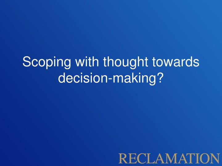 Scoping with thought towards decision-making?