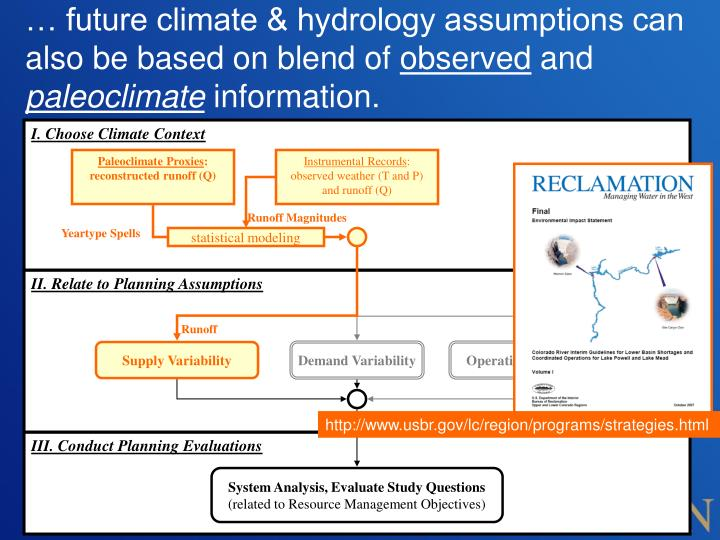 … future climate & hydrology assumptions can also be based on blend of