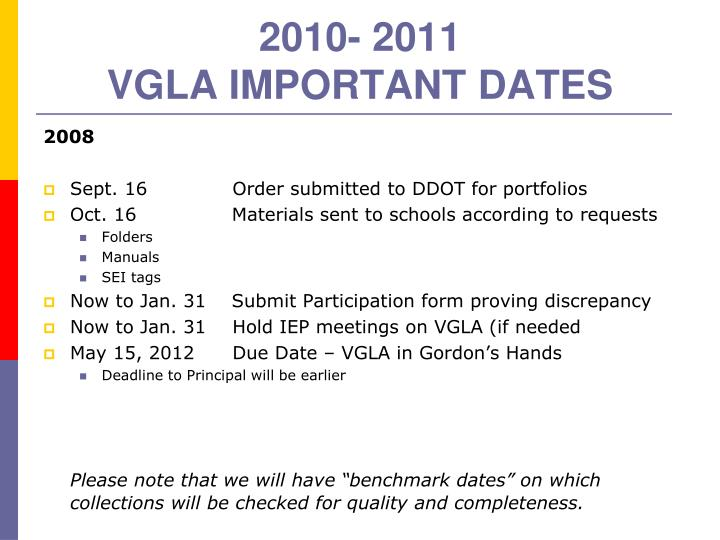 2010 2011 vgla important dates