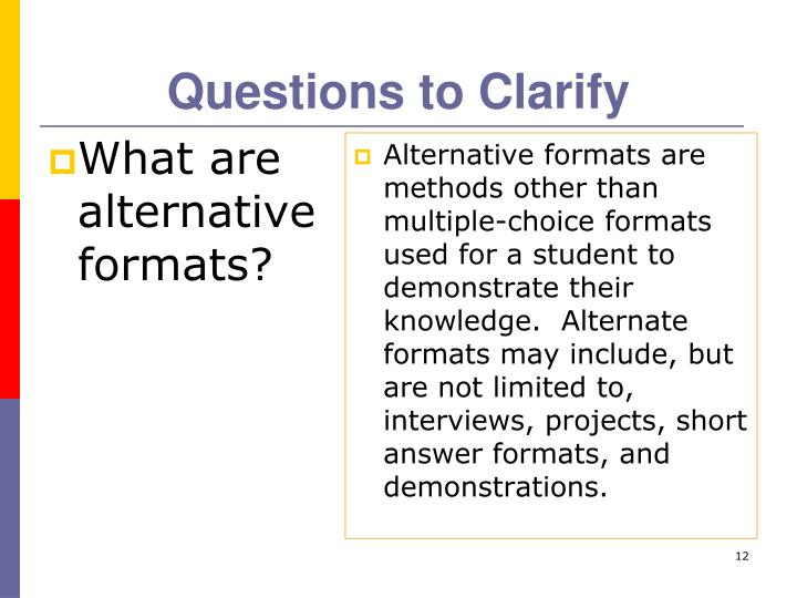 Questions to Clarify