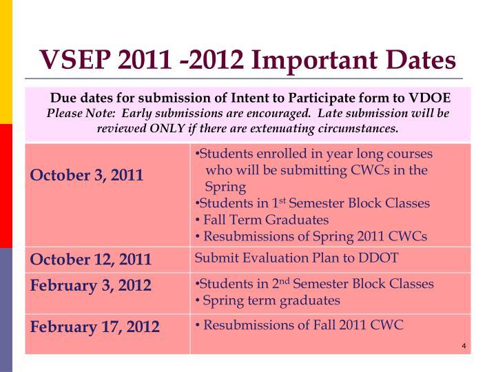 VSEP 2011 -2012 Important Dates