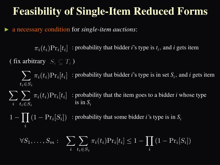 Feasibility of Single-Item Reduced Forms
