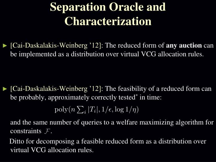 Separation Oracle and Characterization