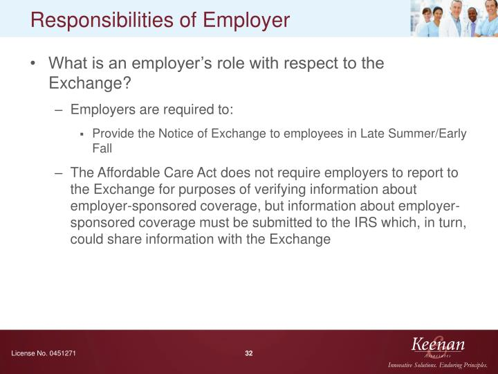 Responsibilities of Employer