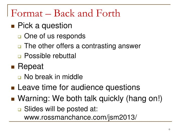 Format – Back and Forth