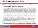 15 grandfathered plan
