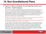 19 non grandfathered plans