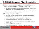 2 erisa summary plan description