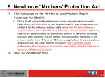 9 newborns mothers protection act