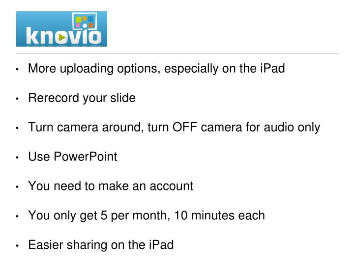 More uploading options, especially on the iPad