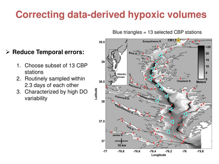 Correcting data-derived hypoxic volumes