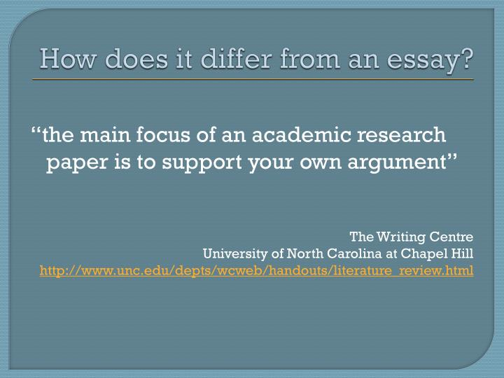 How does it differ from an essay?
