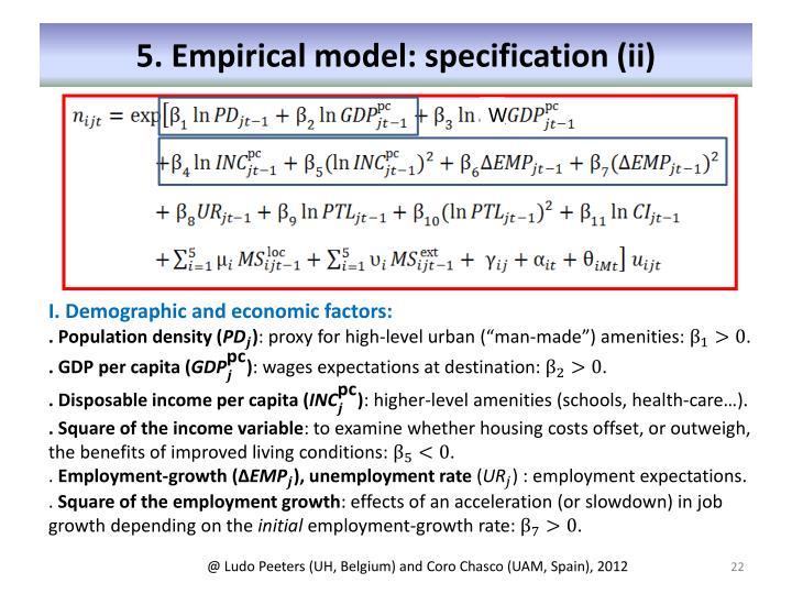 5. Empirical model: specification (ii)