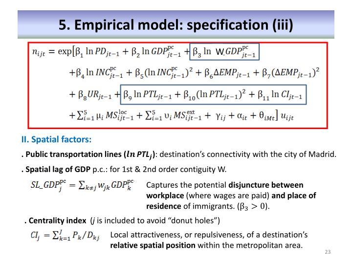 5. Empirical model: specification (iii)