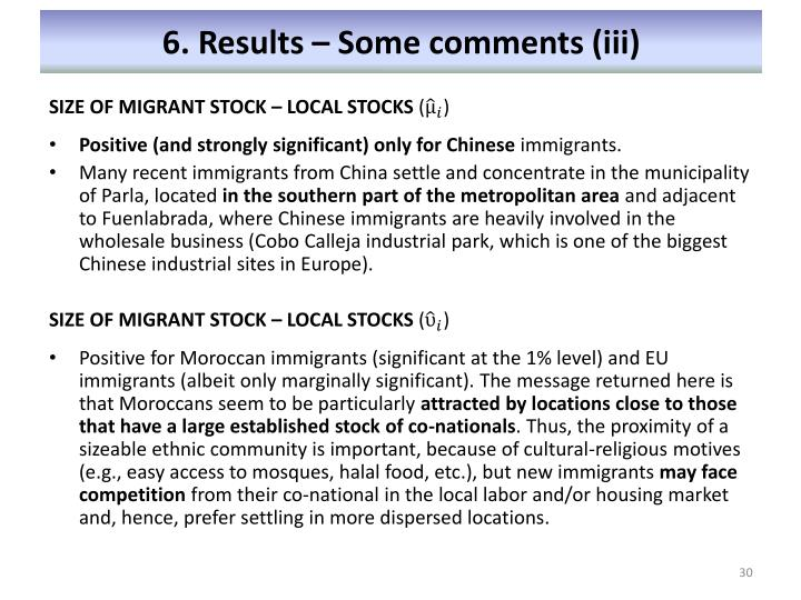 6. Results – Some comments (iii)