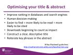 optimising your title abstract