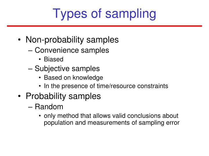 probability and non-probability samples essay Probability sampling is a technique wherein the samples are gathered in a process that gives all the non-probability sampling 51 convenience sampling 52 sequential sampling 53 quota stratified random sampling is also known as proportional random sampling this is a probability.