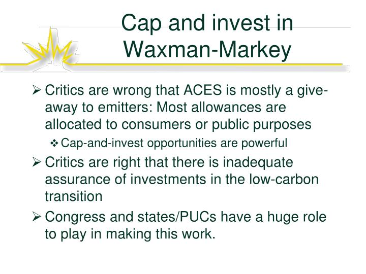 Cap and invest in Waxman-Markey
