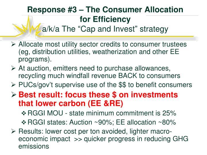Response #3 – The Consumer Allocation