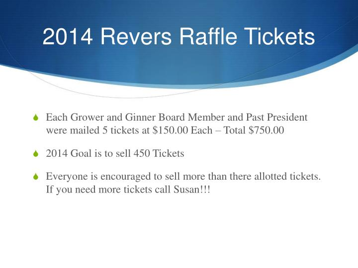 2014 Revers Raffle Tickets