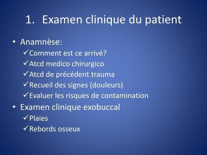 Examen clinique du patient