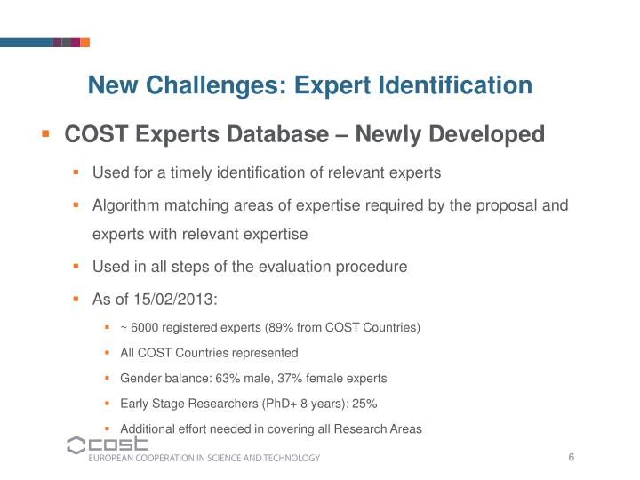 COST Experts Database – Newly Developed
