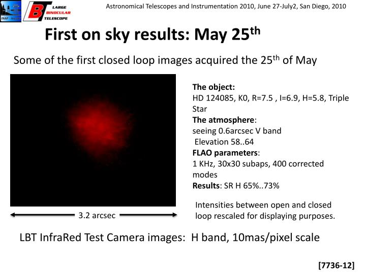 First on sky results: May 25