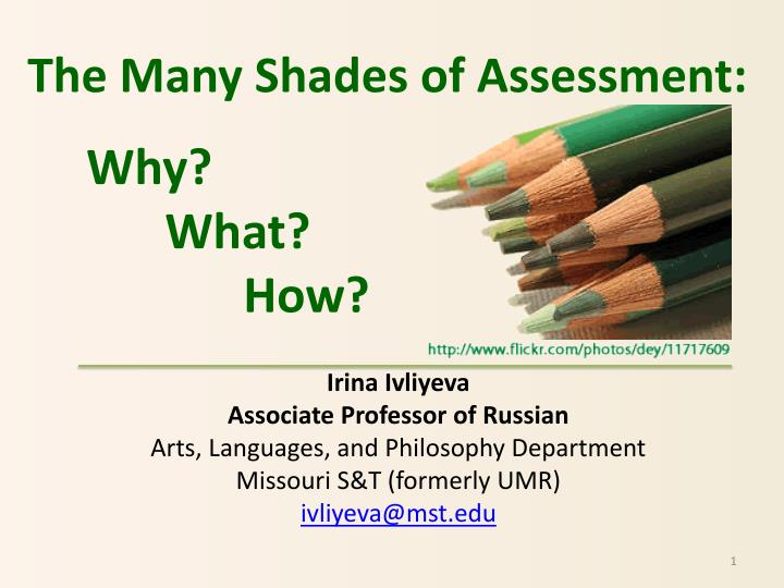The Many Shades of Assessment