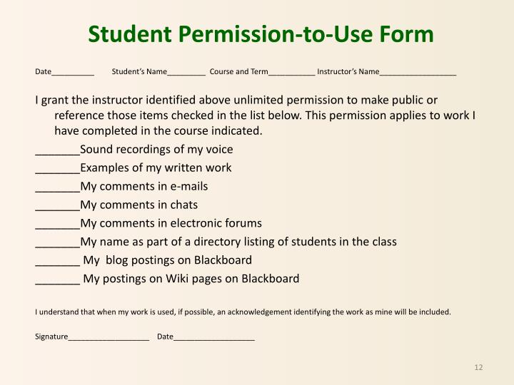 Student Permission-to-Use Form