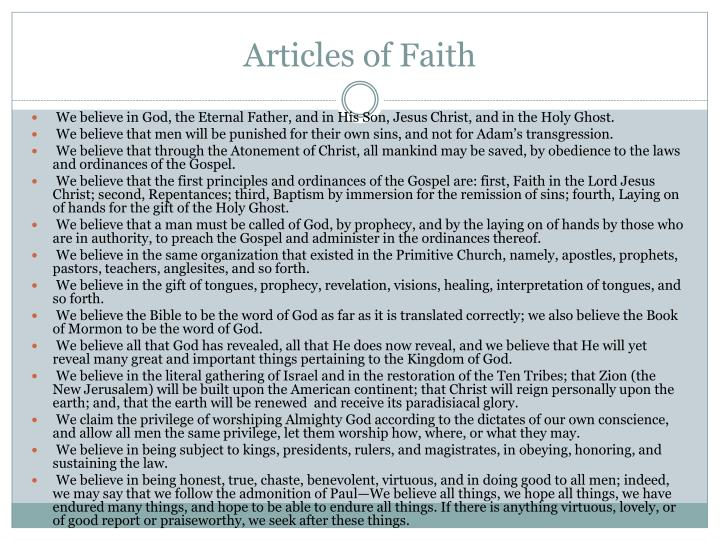 articles of faith Articles of faith in action memorization tip article of faith 4 is about the first four principles and ordinances of the gospel article of faith 4 memorize article of faith 4.