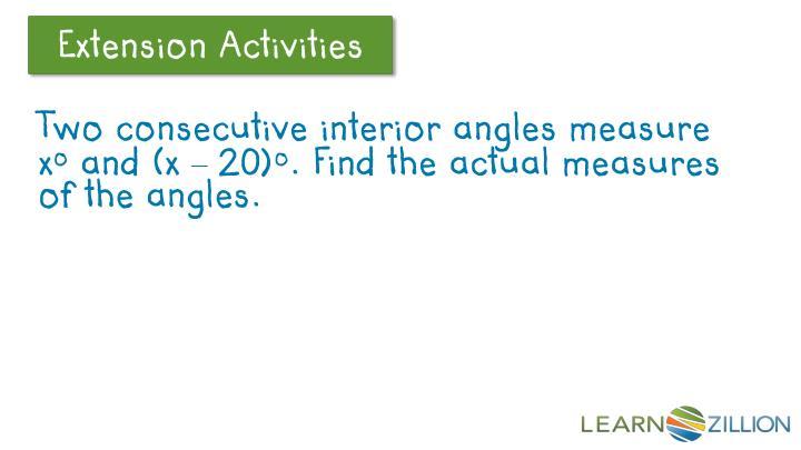 Two consecutive interior angles measure x