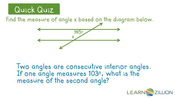 Find the measure of angle x based on the diagram below.