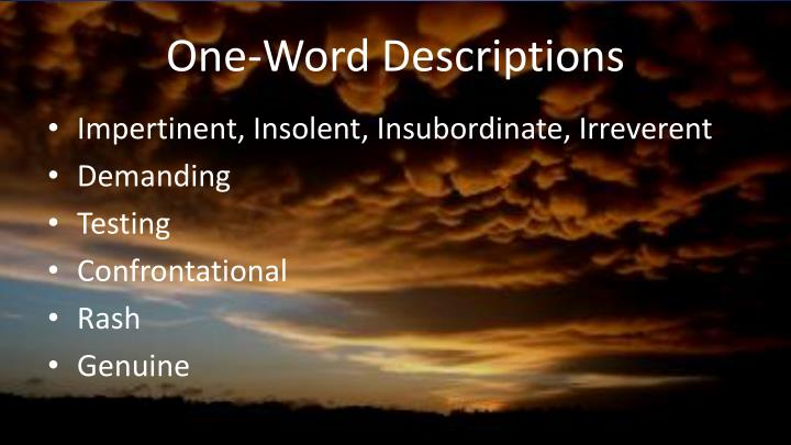 One-Word Descriptions