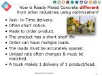 how is ready mixed concrete different from other industries using optimization