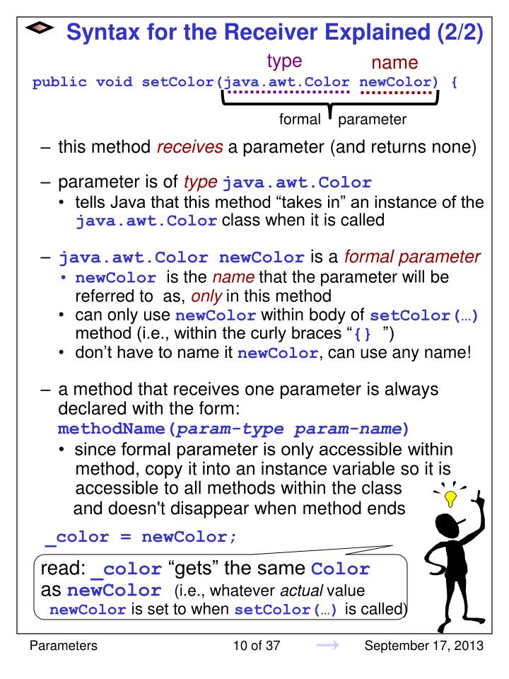 Syntax for the Receiver Explained (2/2)