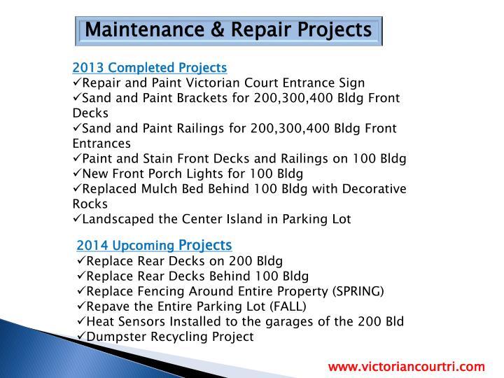 Maintenance & Repair Projects