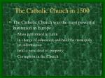the catholic church in 1500