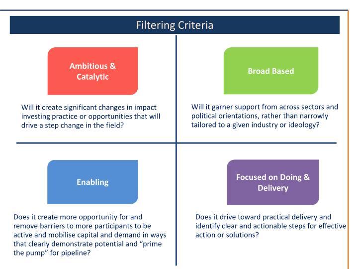 Filtering Criteria