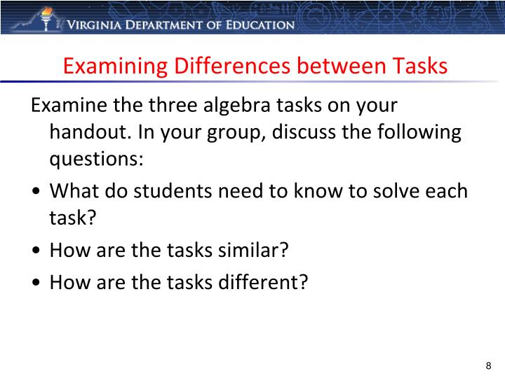 Examining Differences between Tasks
