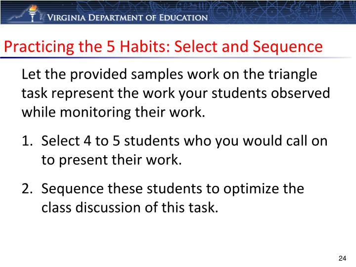 Practicing the 5 Habits: Select and Sequence