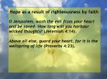 hope as a result of righteousness by faith102