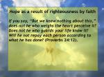 hope as a result of righteousness by faith103