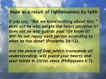 hope as a result of righteousness by faith104