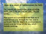 hope as a result of righteousness by faith105