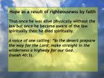 hope as a result of righteousness by faith110